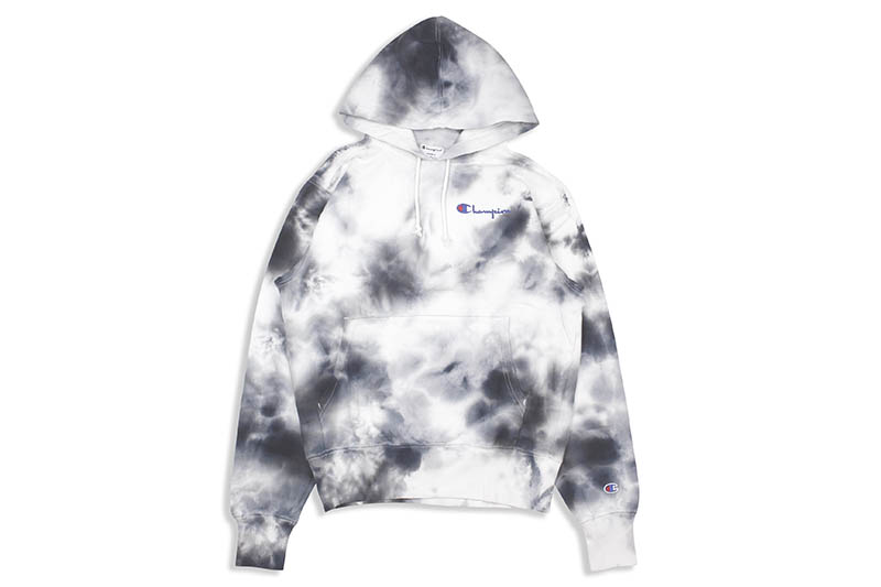 CHAMPION SCRUNCH DYE EMBROIDERED LOGO HOODIE (NAVY)