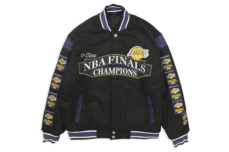 JH Design LA LAKERS 17-TIMES NBA FINALS CHAMPIONS REVERSIBLE JACKET (LAK103BAN0:BLACK)