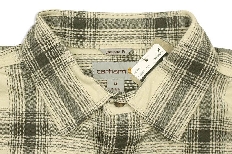 Carhartt ORIGINAL FIT FLANNEL L/S PLAID SHIRT (104451/121:OYSTER WHITE)