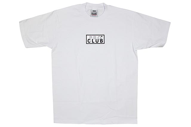 PRO CLUB HEAVYWEIGHT S/S EMBROIDERED BOX LOGO TEE (WHITE)