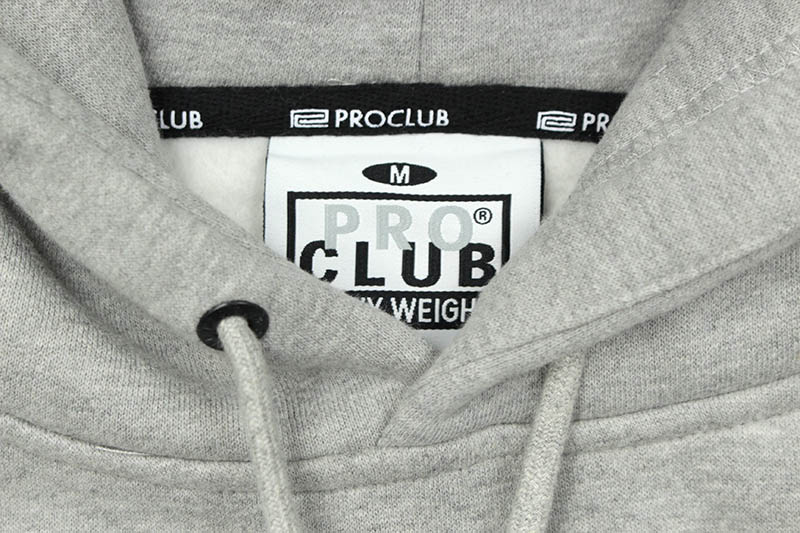PRO CLUB HEAVYWEIGHT SILICON LOGO PULLOVER HOODIE (HEATHER GRAY)