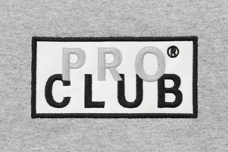PRO CLUB HEAVYWEIGHT L/S EMBROIDERED BOX LOGO T-SHIRT (HEATHER GRAY)