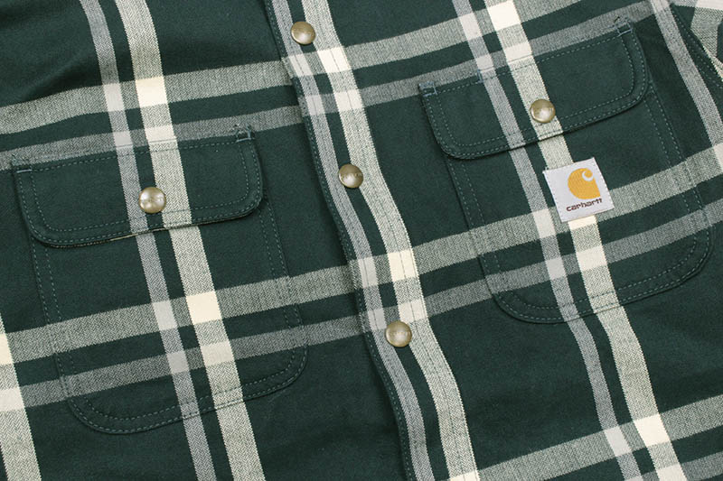 Carhartt RELAXED FIT FLANNEL SHERPA-LINED SNAP-FRONT PLAID SHIRT JACKET (104452-G32/INK GREEN)