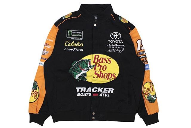 JH Design MARTIN TRUEX JR BASS PRO SHOPS 2019 NASCAR TWILL JACKET (BLACK/ORANGE)