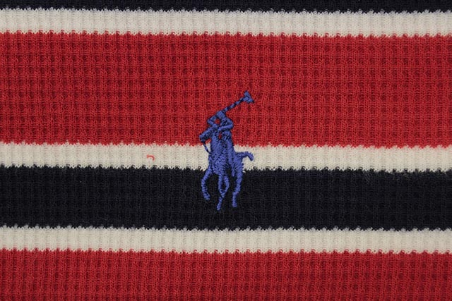 POLO RALPH LAUREN STRIPE WAFFLE-KNIT THERMAL SHIRT (PW18HF-QN5:RED MULTI)
