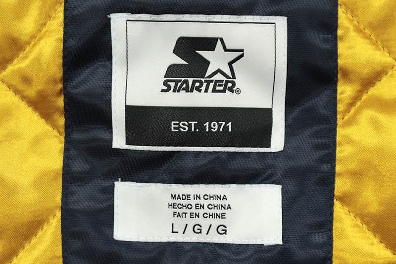 STARTER MICHIGAN WOLVERINES SATIN ZIP JACKET (LS880697:UMN/NAVY)