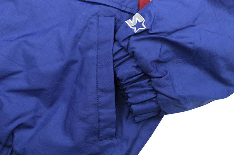 STARTER NEW YORK GIANTS HALF ZIP HOODED PULLOVER JACKET (LS900066:BLUE)
