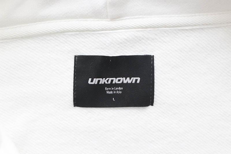 UNKNOWN LONDON CROSS RHINESTONE ZIP UP HOODIE (WHITE/BLACK STONE)