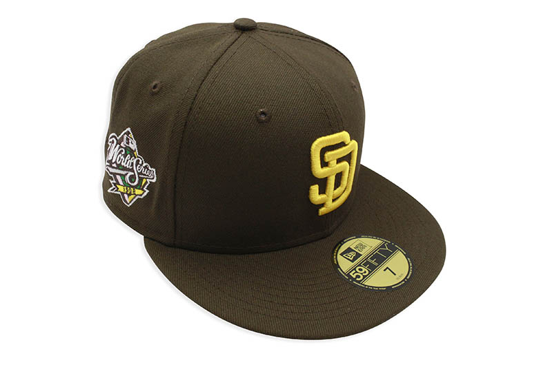 NEW ERA SAN DIEGO PADRES 59FIFTY FITTED CAP (1998 WORLD SERIES SIDE PATCH/PINK UNDER VISOR/BROWN)
