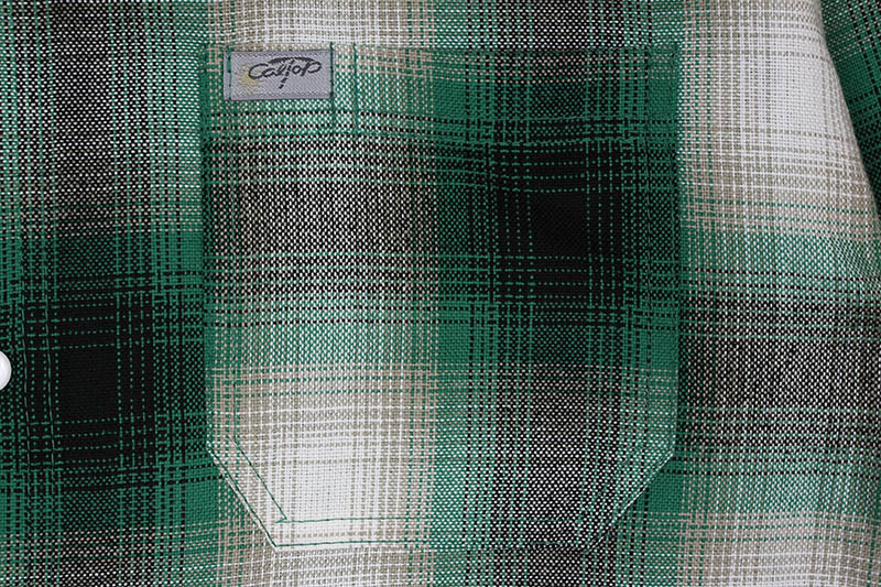 CALTOP PLAID FLANNEL LONG SLEEVE SHIRT (#2000:GREEN/WHITE)