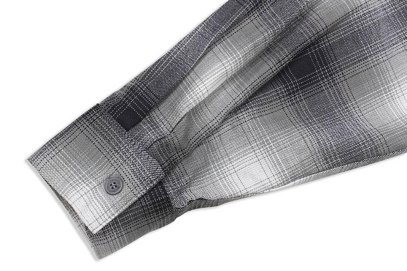 CALTOP PLAID FLANNEL LONG SLEEVE SHIRT (#2000:GRAY/WHITE)