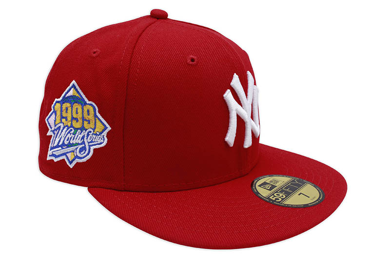 NEW ERA NEW YORK YANKEES 59FIFTY FITTED CAP (1999 WORLD SERIES CUSTOM SIDE PATCH/PINK UNDER VISOR/SCARLET)