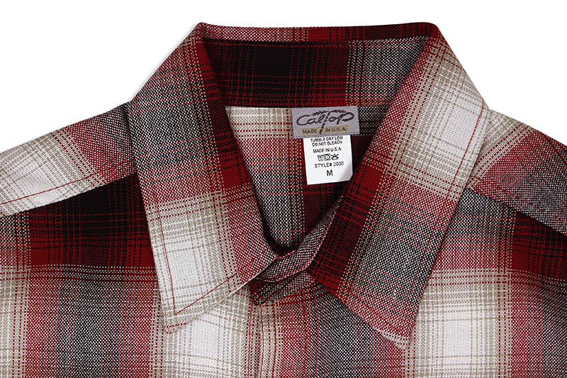 CALTOP PLAID FLANNEL LONG SLEEVE SHIRT (#2000:RED/WHITE)