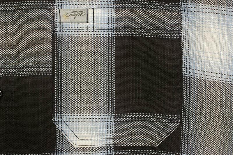 CALTOP PLAID FLANNEL LONG SLEEVE SHIRT (#2000:NAVY/SKY BLUE)