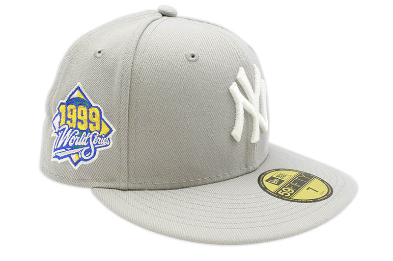 NEW ERA NEW YORK YANKEES 59FIFTY FITTED CAP (1999 WORLD SERIES CUSTOM SIDE PATCH/PINK UNDER VISOR/GREY)