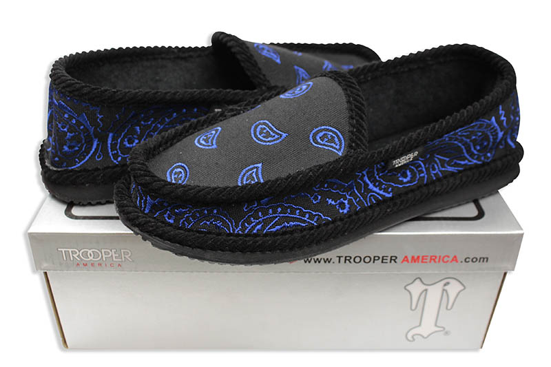 TROOPER EMBROIDERY HOUSE SHOES (KS-002E:BLACK/ROYAL)