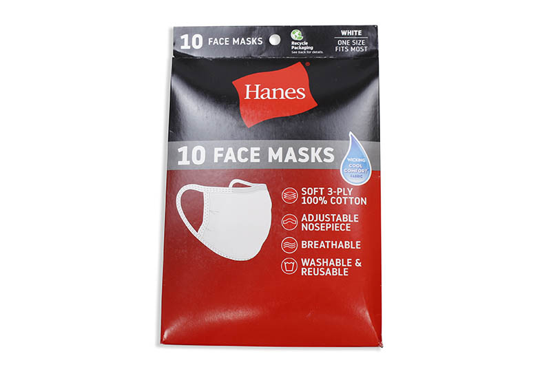 HANES WICKING COTTON MASKS 10-PACK (WHITE)