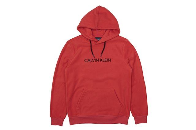 CALVIN KLEIN JEANS POLAR FLEECE LOGO CROSSOVER HOODIE (41T9089-600:FLAME SCARLET)