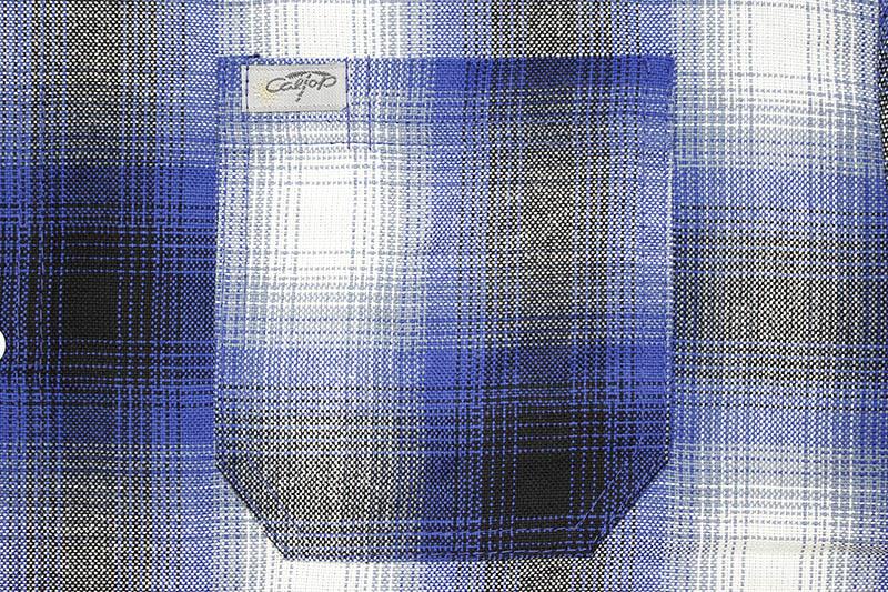 CALTOP PLAID FLANNEL SHORT SLEEVE SHIRT (#2000:ROYAL/WHITE)