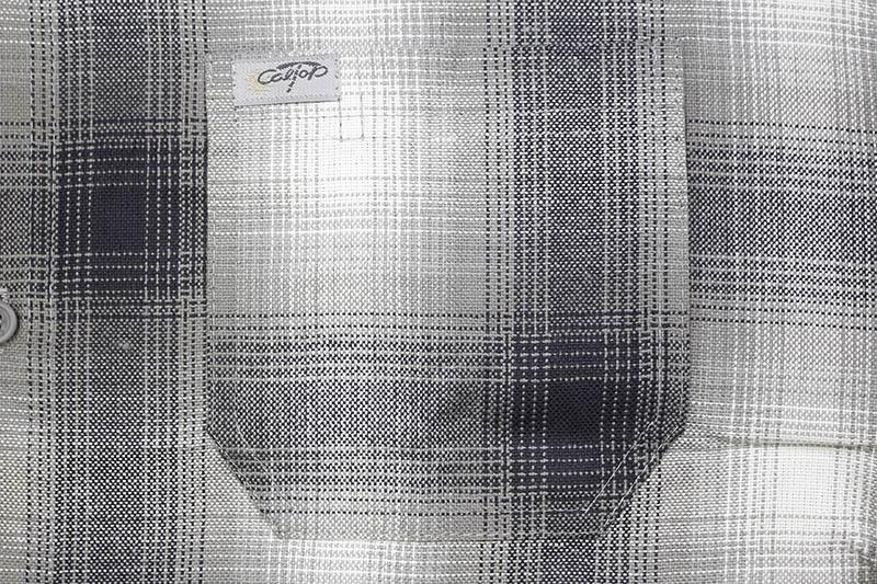 CALTOP PLAID FLANNEL SHORT SLEEVE SHIRT (#2000:GRAY/WHITE)