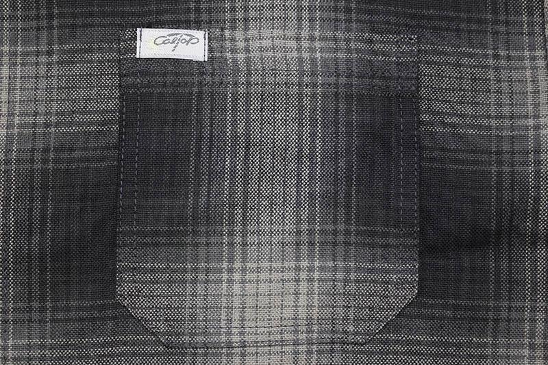 CALTOP PLAID FLANNEL SHORT SLEEVE SHIRT (#2000:BLACK/CHARCOAL)