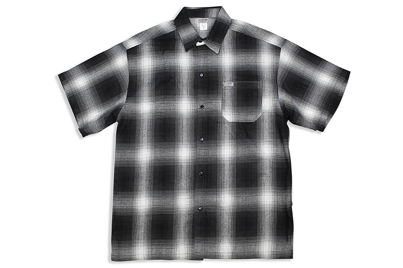 CALTOP PLAID FLANNEL SHORT SLEEVE SHIRT (#2000:BLACK/IVORY)