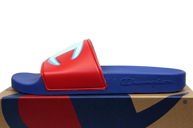 CHAMPION LIFE IPO COLOR BLOCK SLIDE (CM100327M:RED MULTI/SURF THE WEB)
