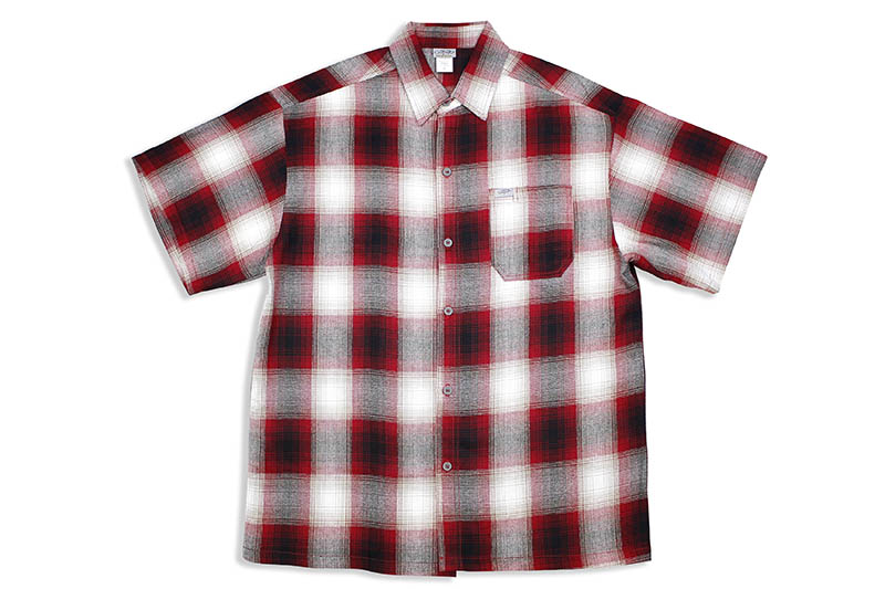 CALTOP PLAID FLANNEL SHORT SLEEVE SHIRT (#2000:RED/WHITE)
