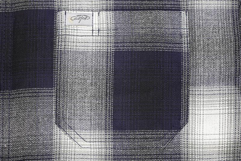 CALTOP PLAID FLANNEL SHORT SLEEVE SHIRT (#2000:NAVY/IVORY)