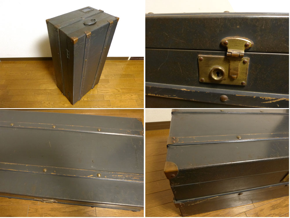 1940-50s 古いレトロな鉄製トランク / ローテーブル ヴィンテージ【中古】 【送料無料】