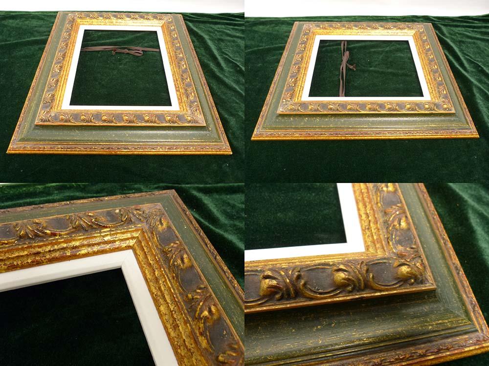 レトロ ヴィンテージ オールド シャビーな額縁 2トーン木製フレーム 油絵3号 / F3 (油彩額縁)【中古】