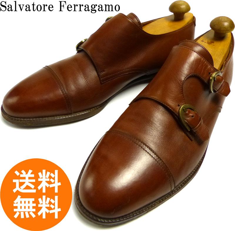 Salvatore Ferragamo フェラガモ ダブルモンクストラップシューズ 10 D(28cm相当)(メンズ)  【中古】【送料無料】