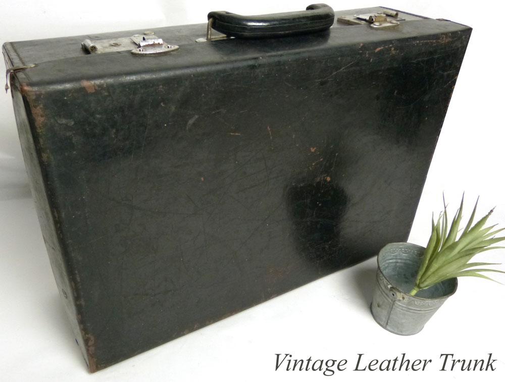 ヴィンテージ トランク / オールドスーツケース / ウェルカムボード (黒 )【中古】