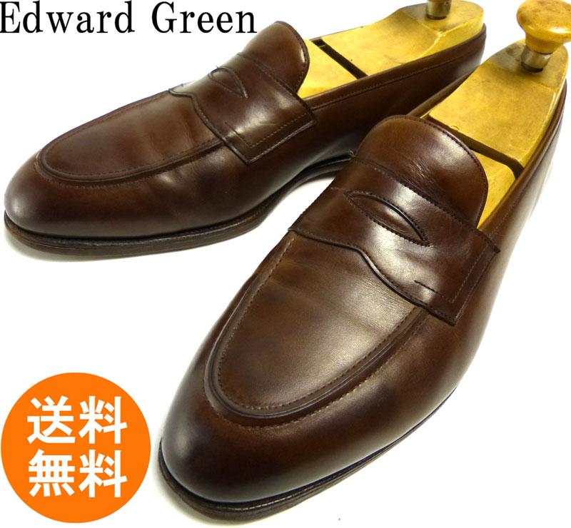 【希少】英国製 エドワードグリーン Edward Green ピカデリー#184 コインローファー 10-10 1/2E(28-28.5cm相当)(メンズ)【中古】【送料無料】