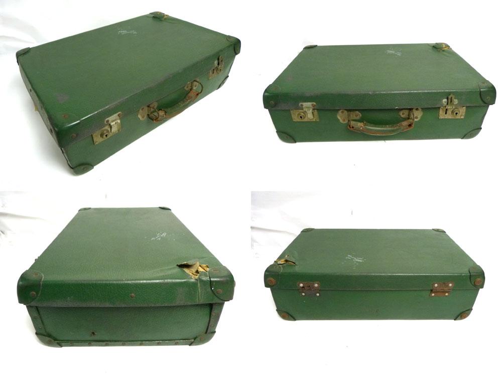 【訳あり】ヴィンテージ トランク / オールドスーツケース (緑 )【中古】