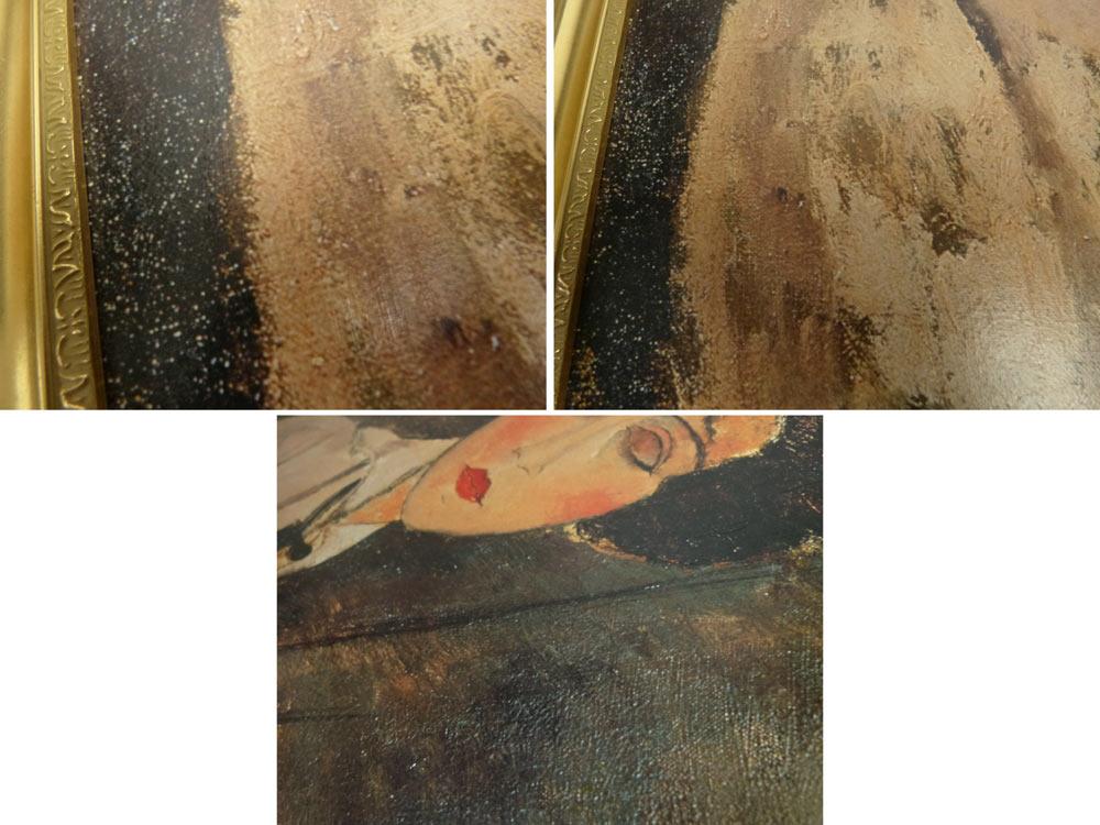 模写 モジリアニ 「黒ネクタイの女」額装 人物画 複製画(アメデオ・モディリアーニ )版上サイン【中古】 【送料無料】