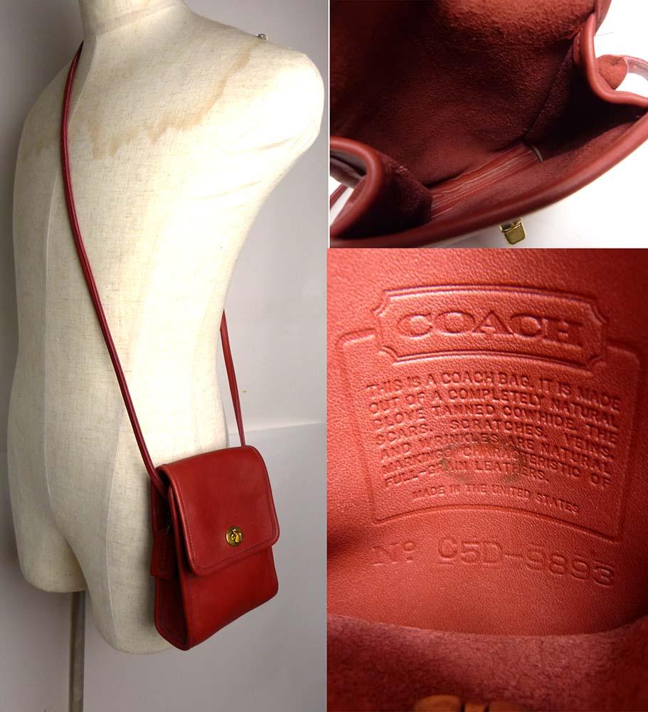 1970s USA製 オールドコーチ COACH コーチ 本革   ターンロック 小ぶり フラップショルダーバッグ【ヴィンテージ】【中古】【送料無料】