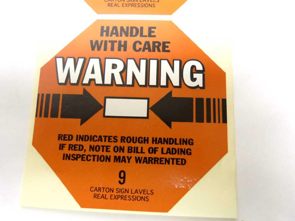 【未使用】10枚入り HANDLE WITH CARE WARNING ステッカー / シール(デッドストック)【中古】【メール便対応可】