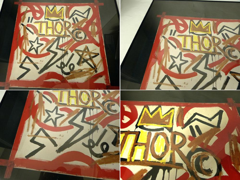 ジャン=ミシェル バスキア Jean-Michel Basquiat  THOR「雷神」アートポスター (額付き)【中古】【送料無料】