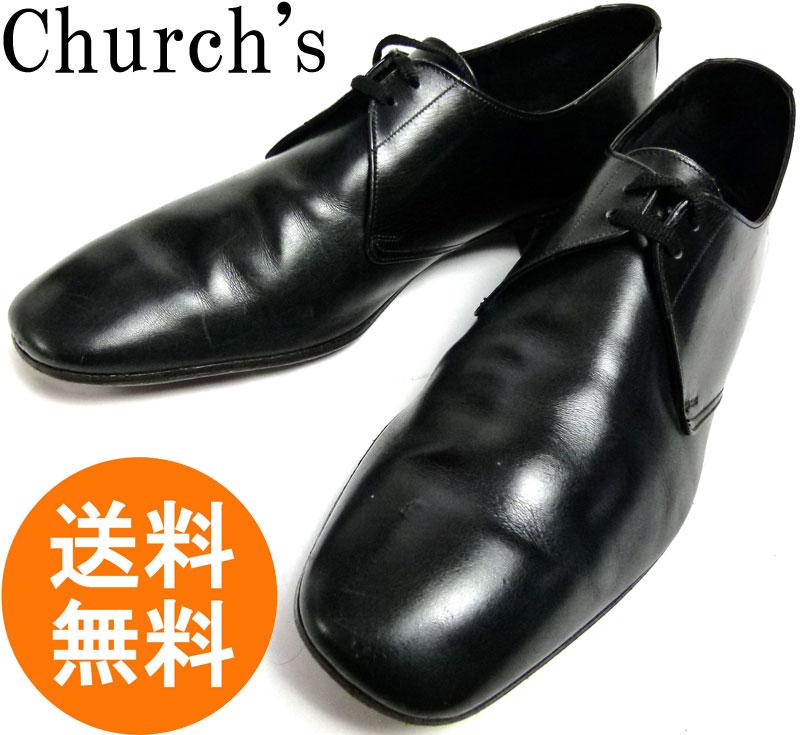 【希少】旧々チャーチ CHURCH'S 101 プレーントゥレザーシューズ 8 C/D(25〜25.5cm相当)【オールドチャーチ】【中古】【送料無料】