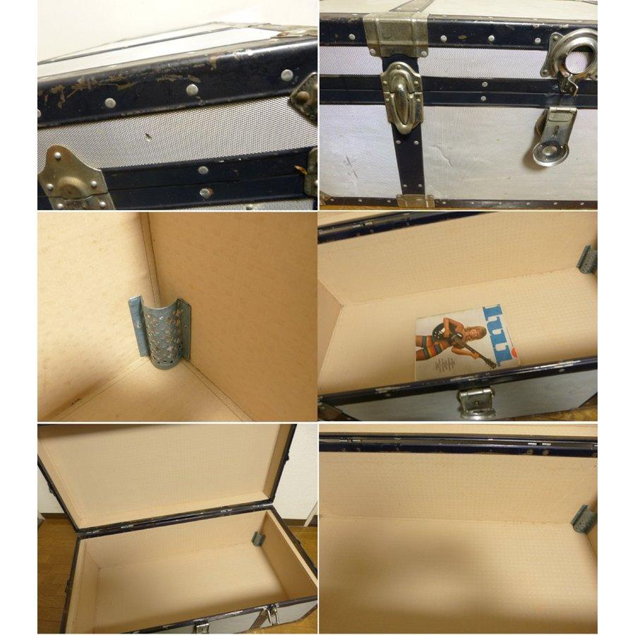 アンティーク ビンテージ トランク ローテーブル コーヒーテーブル スーツケース(銀×紺)(船箱)【中古】【送料無料】【代引き不可】