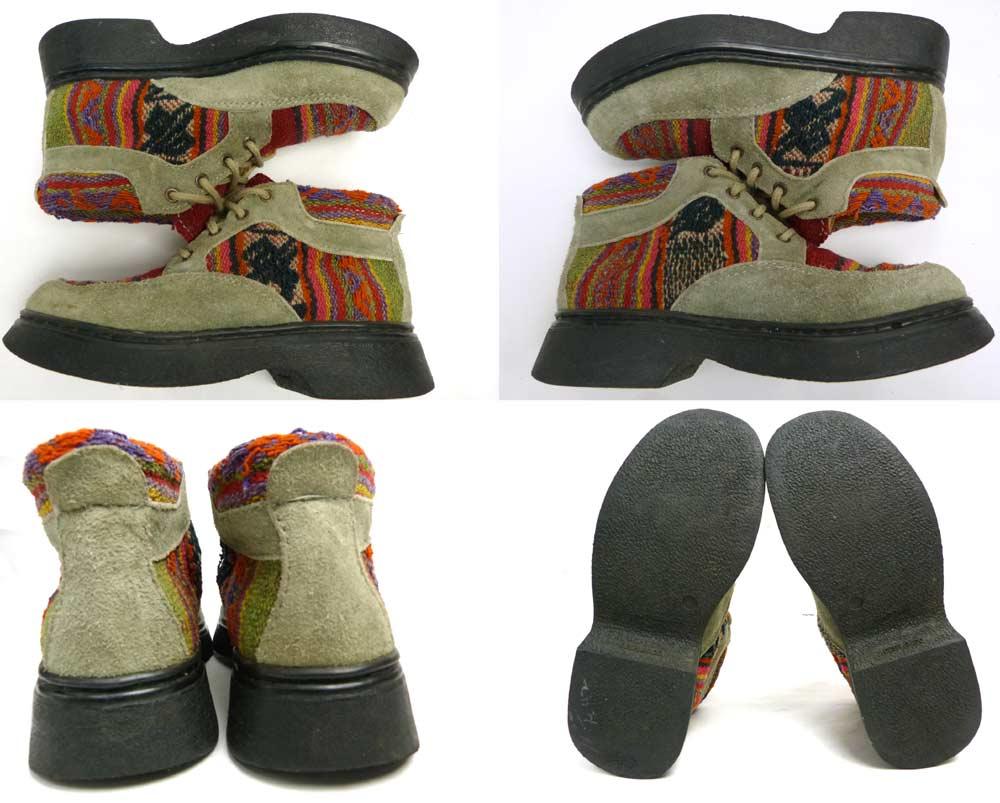 スペイン MANTAY ラグ×スエード ショートブーツ (24.5cm相当)(レディース)(日本未発売)【中古】