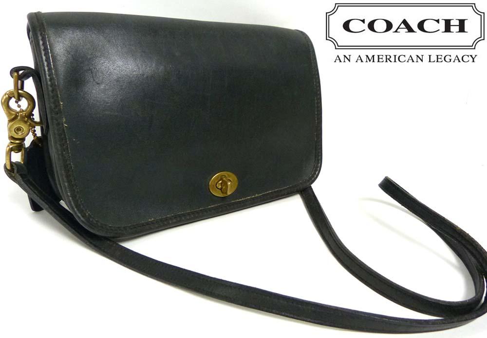 1970s USA製 オールドコーチ COACH コーチ 本革 ターンロック フラップショルダーバッグ【ヴィンテージ】【中古】【送料無料】