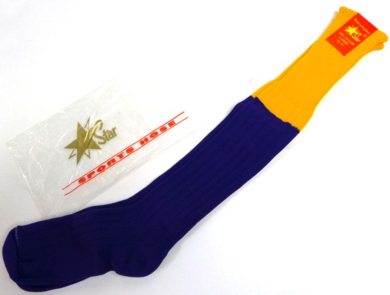 英国(イングランド)製 2トーン ソックス Star SPORTS HOSE  10-11 1/2(25-30cm)(黄色×紫)【デッドストック】【未使用品】【中古】
