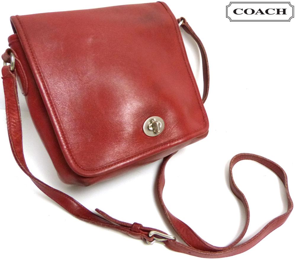 USA製オールドコーチ OLD COACH レザーフラップショルダーバッグ (赤)(ターンロック)【中古】