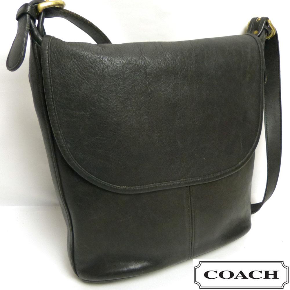 USA製オールドコーチ OLD COACH レザーフラップショルダーバッグ (黒)【中古】