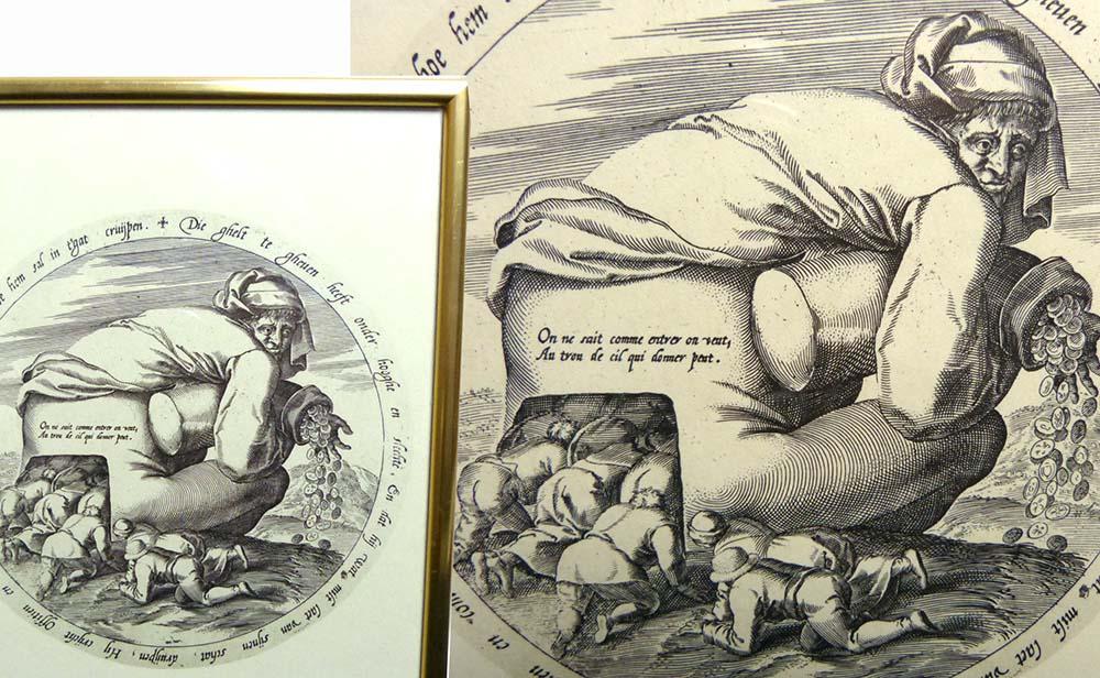 ヤン・ブリューゲル「金袋をもった男とおべっか使いたち」版画/額装(ヤン・ウィーリクス彫刻)【中古】