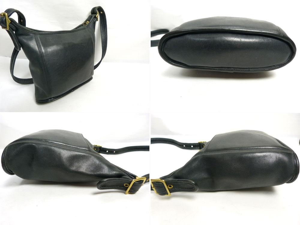 USA製 オールドコーチ 本革レザー ショルダーバッグ  OLD COACH (黒/ブラック)【中古】【送料無料】【中古】