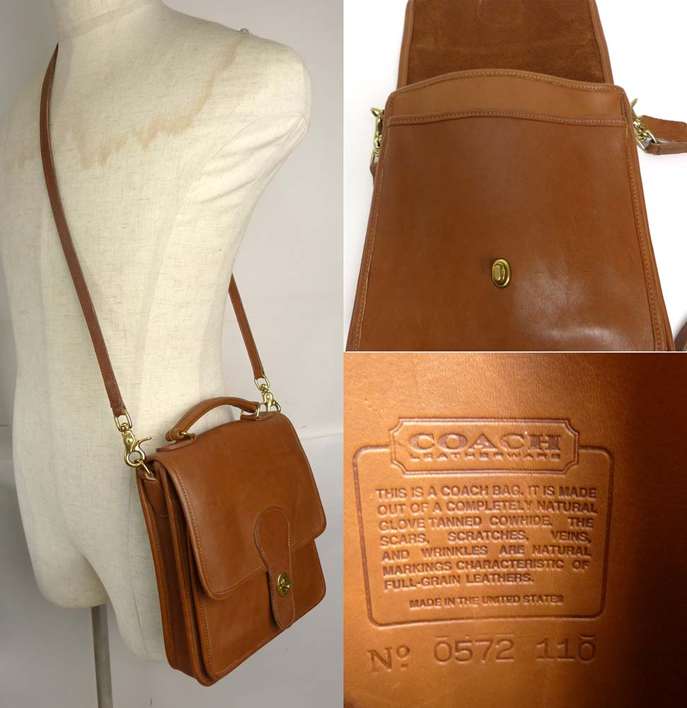 1970−80s USA製 オールドコーチ  OLD COACH ターンロック 2WAY ショルダーバッグ【ヴィンテージ】【中古】【送料無料】
