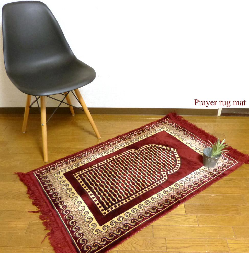 104×63cm ベルベット プレイヤーラグマット / カーペット / 絨毯【中古】